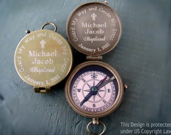 Baptism Gift Boy, Engraved Compass, Boy Baptism Gift, Baptism Gift, Confirmation Gift for Boy, Personalized Compass, Compass, Confirmation