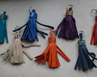 Monogrammed Leather Tassels