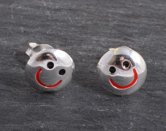 Sterling Silver smiley face Earrings Ear Studs handmade