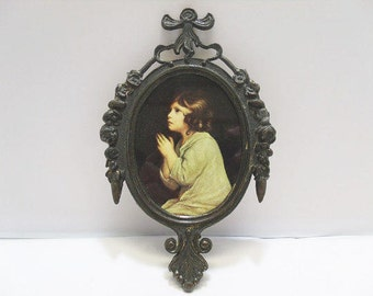 Ornate Framed Praying Girl Picture / MADE IN ITALY Brass Framed Picture