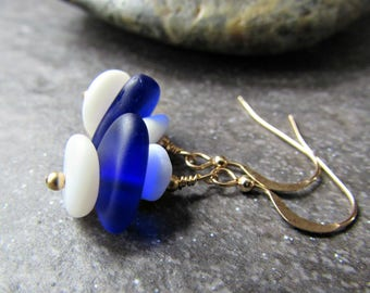 Blue and White Sea Glass Earrings in Sterling Silver, 14K Yellow Gold Filled or Rose Gold Filled- Beach Glass Ocean Gift- Penn State Jewelry