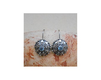 Sterling Silver Earrings, 925 silver earrings, Star-Cut Synthetic Aquamarine CR