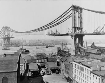 Manhattan Bridge Construction 1909, New York City, B&W