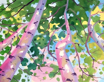 Original oil painting,Aspen Fall Trees, Abstract, Nature, Modern Wall Art,Home decor, Kitchen décor by Tetiana