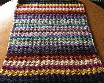 Ready to Ship!  Happy Scrappy Stripes Crochet Baby Crib Blanket