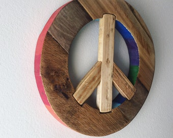 Rainbow Rustic Wood Peace Sign - reclaimed wood, thick chunky wood, peace and love, wall decor