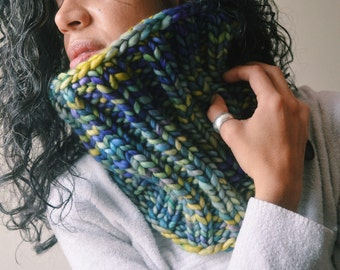Van Gogh Cowl - super chunky knit infinity cowl, purple, blue, green, yellow hues