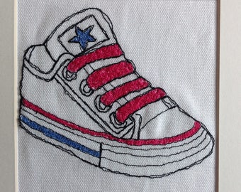 Textile art shoe, wall art trainer, fibre art sneaker, free machine embroidery, free motion stitching, textile wall hanging, embroidery art
