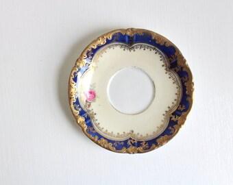 Vintage Ring Dish, Floral Ring Dish, Flower Ring Dish, Blue Ring Dish, Floral Trinket Dish, Blue Trinket Dish, Blue Jewelry Dish, Floral