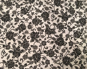 Black and white fabric by the yard - floral fabric - flower fabric - #17067