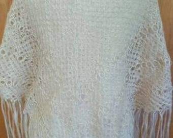 Vintage Handmade Loop knitted Cream Shawl Wrap