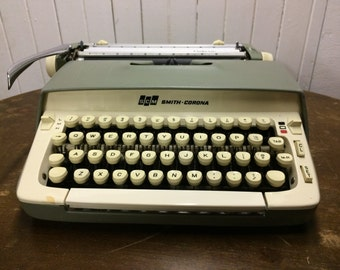 Vintage Smith Corona Galaxie Typewriter in Pale Green with Case