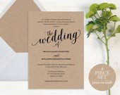 Wedding Invitation, Wedding Invitation Template, Wedding Invite Printable, Rustic Wedding, Invitation, Script, Instant Download, #MM01-2