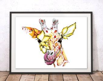 Decorative Giraffe Art Print, Floral Giraffe Art Poster, Colourful Giraffe Flowers Print, Giraffe Illustration, Giraffe Drawing Framed