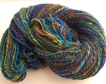 SALE: Crayon colors Art Batt Handspun, Wool/Silk/Sparkle, approx. 198 yds
