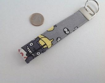 Totoro wristlet, Keychain, Key Fob Wristlet, Totoro Lanyard, wristlet band,  canvas key fob