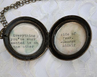 Brass Locket with George Addair Quote