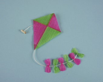 Childs Toy Kite in Green and Pink - 1:12 or 1/12 Scale Dollhouse Miniature for Beach, Garden, Toy Store or Shop, Kiosk, Playroom