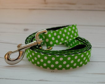 5 foot long Dog Leash in Green Dot to match Petunia and Pumpkin Pie Flower Collars