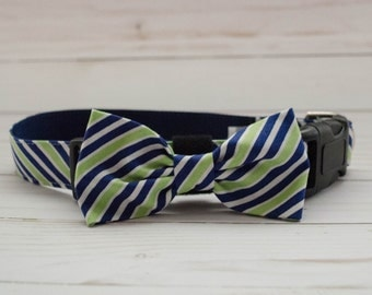 "The ""Oxford"" Blue and Lime Green Dog Bow Tie Collar"