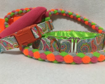 "Neon Paisley Collar 1.5"" Martingale Dog Collar Only"