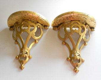10 h gold leaf shelf sconces pair of shelf sconces antique gold - Decorative Wall Sconces
