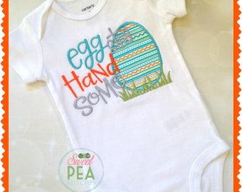 Boys Easter Shirt - Easter Egg Shirt - Eggstra Handsome Shirt - Baby Bodysuit - Cute Egg Shirt - First Easter-Embroidered Shirt -Toddler tee