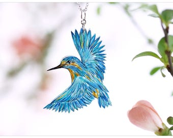 necklace bird, kingfisher, bird necklace, kingfisher necklace, kingfisher chain, blue bird chain, bird pendant, flying kingfisher