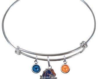 Boise State Broncos Wire Charm Expandable Bangle Bracelet w/ Blue & Orange Crystal Rhinestone Gem Charms