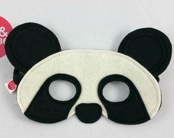 Wool felt Panda mask for pretend play and dress up, make believe and costumes.  100% wool felt animal mask. Felt bird mask.
