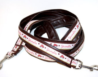 Dog leash Adjustable padded beige mushroom with faux leather dark brown