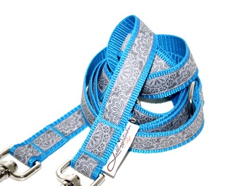 Dog leash adjustable turquoise blue grey SpitzenWerk, leash for dogs