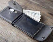 Biker Wallet WITHOUT the Chain - Wallet - Men's Dark Leather Biker Wallet - Manly Man Wallets -- Listing# 038