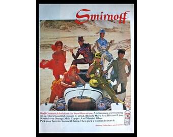 1967 Ad Smirnoff Vodka Women in Costume Bar Art Vintage Print Ad ETK317