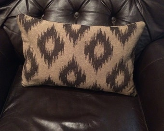 Ikat pillow cover, Black and Tan pillow cover, accent pillow , throw pillow , cushion cover , shams, sofa pillow. Zipper closure .