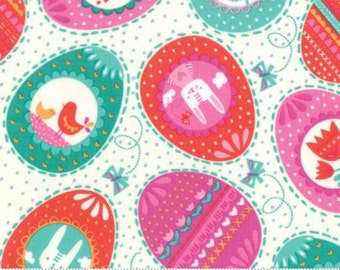 Sale!!- Eggs Eggs Eggs in Multi- Spring Bunny Fun - By Stacy Iest Hsu for Moda