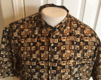 Vintage Men's Silk Shirt - collarless - Personal Choice - brown and black checkered pattern - Size Large - great condition