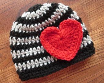 Crocheted Baby Valentine's Day Hat ~ Black & Silver Gray Stripes with Bright Red Heart ~ Photo Prop ~ Newborn to 5T ~ MADE TO ORDER