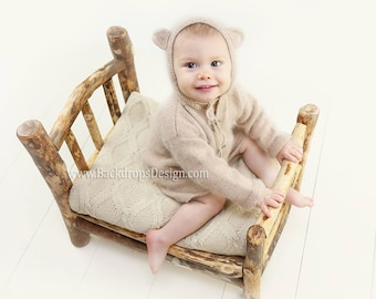 Log bed Newborn photography prop Log Bed  READY TO SHIP!  hand made bed photography prop bed, wooden bed, baby photography prop, photo props