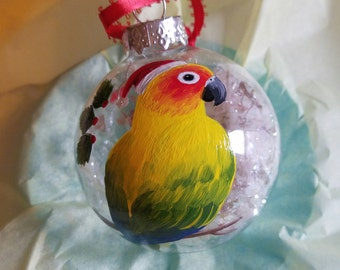 Sun Conure Christmas ornament, hand painted