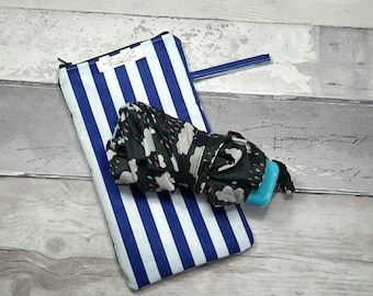 Umbrella, brolly bag, wet, waterproof bag, navy stripes, baby accessories, nappy bag
