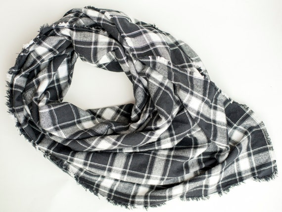 Black and white scarf, Gift for her, Plaid blanket scarf, Brushed cotton, Winter accessories, Large flannel square scarf for ladies, Fringed