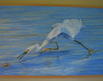 Framed Ex-Large Oil Painting ~ Snowy Egret Stalking A Ghost Crab