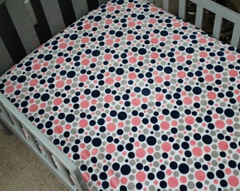 Minky Crib Sheet in Navy, Coral, Gray and White Minky Polka Dots, Baby, Toddler Bed, Crib Bedding, Nursery