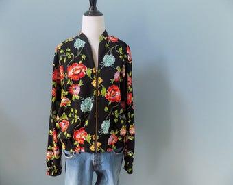 Vintage SATIN BOMBER jacket floral JACKET spring lightweight jacket womens medium