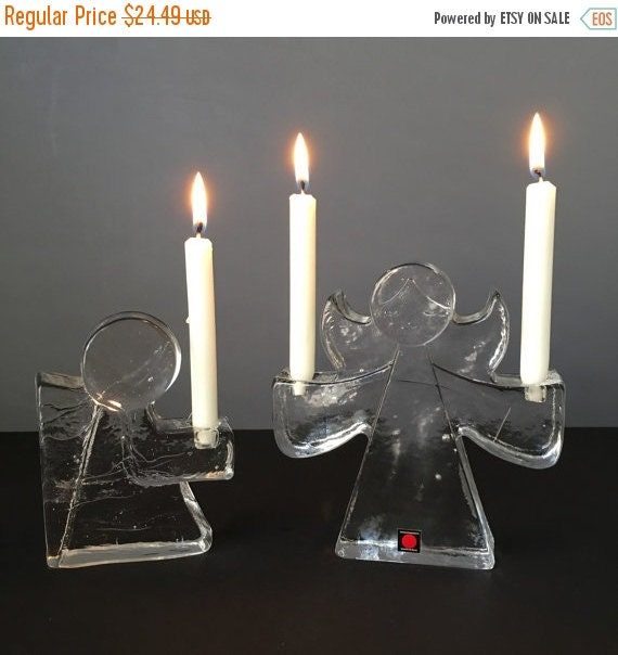 ON SALE Vintage Glass Angel Holiday Candleholder Pair, Wiesenthal Hutte Germany, Vintage Holiday Home Decor