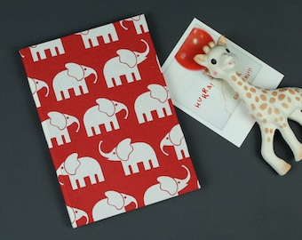 Red diary, baptism gift, baby diary, children sayings, red cotton fabric, elephant-related diary with fabric, customizable,