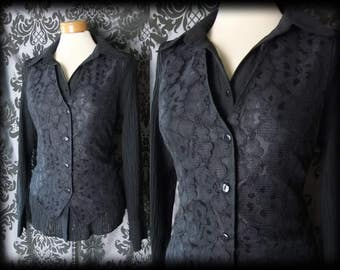 Gothic Black Lace Fitted TRANSYLVANIAN Corset Waistcoat 12 14 Steampunk Vintage