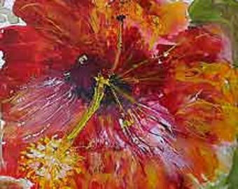 Summer Hibiscus  Painting on Yellow Rice Paper hand made card printed on fine linen paper.