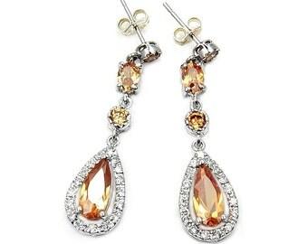 Honey Champagne Peach Earrings Cubic Zirconia Eearrings & 925 Sterling Silver Dangle Earrings Jewelry Gift  AA73